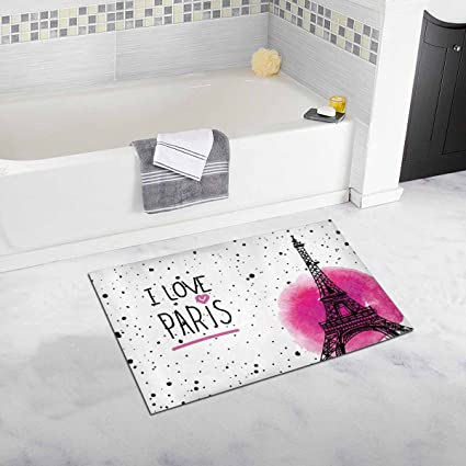 InterestPrint I Love Paris Eiffel Tower France Home Decor Non Slip Bath Rug Set Absorbent Floor
