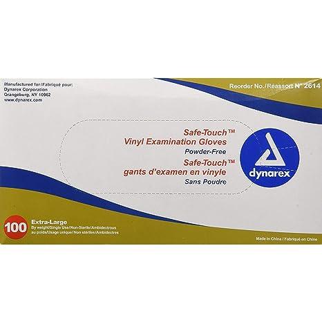 Dynarex Powder-Free Vinyl Exam Gloves, Medium, 100 Count