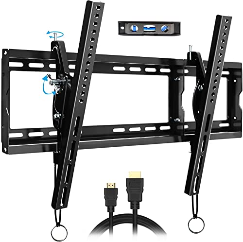 FOZIMOA Tilting TV Wall Mount Bracket for 32-80 inch TVs, up to 165 lbs VESA 600x400mm, Fits Flat Curved LED LCD Plasma Screen, HDMI Cable Bubble Level Included