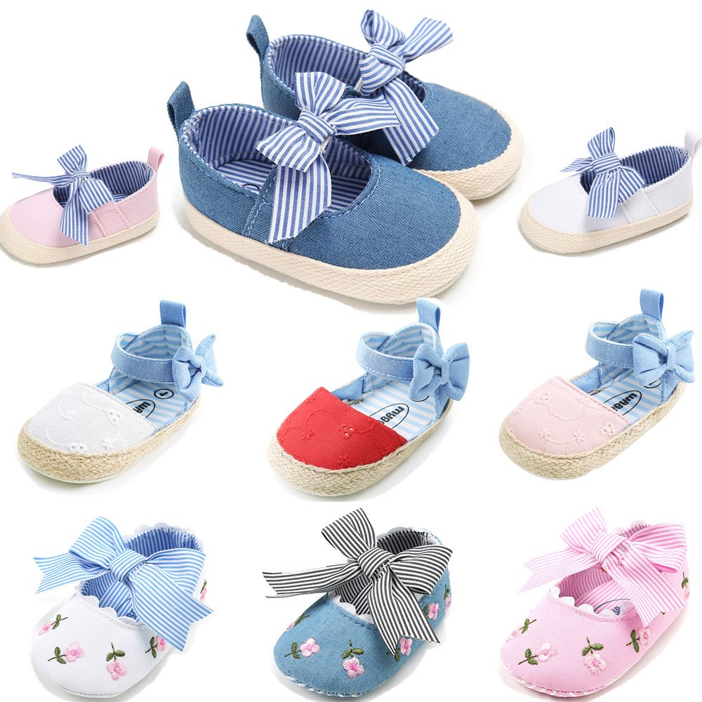 Isbasic Baby Girls Knit Soft Sole Toddler Mary Jane Sneakers Casual Canvas Shoes (6-12 Months, Flower Blue)