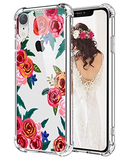 buy popular 66cd7 4c311 Hepix Floral Clear iPhone XR Case Poppy Flowers XR Cases, Pretty Red Xr  iPhone Cases with Protective Bumpers, Flexible Soft TPU Frame for iPhone XR