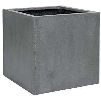 Natural Block Planter Pot Indoor Outdoor Fiberstone Planter Box 20 Inches Square Pottery Planter Decorative Flower Pot for Orchids Foliage Porch Garden Patio - Grey, Large : Garden & Outdoor