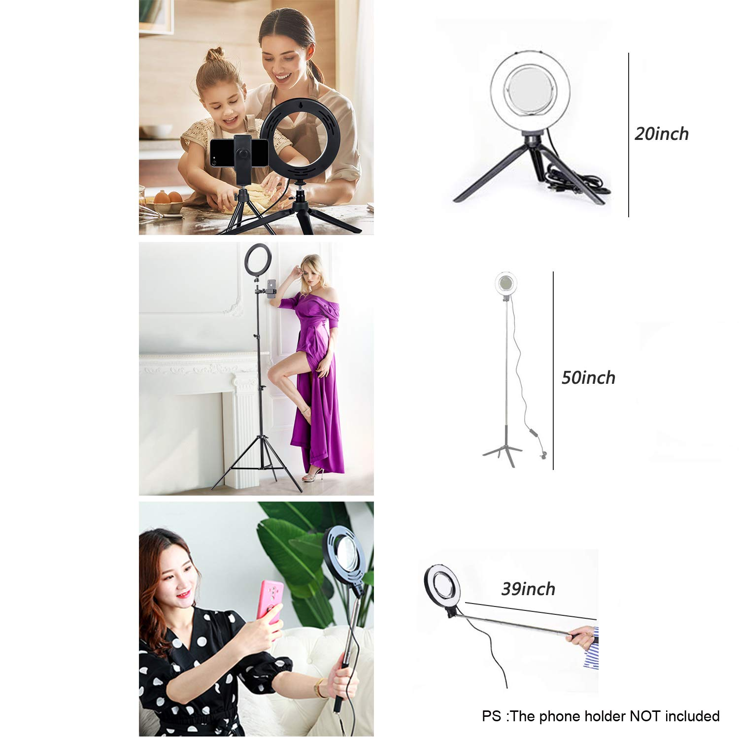 Ring Light with Stand for Camera Live Stream Makeup Phone,Dimmable LED Selfie Ring Light for Phone Video Shooting by NCElec (Image #4)
