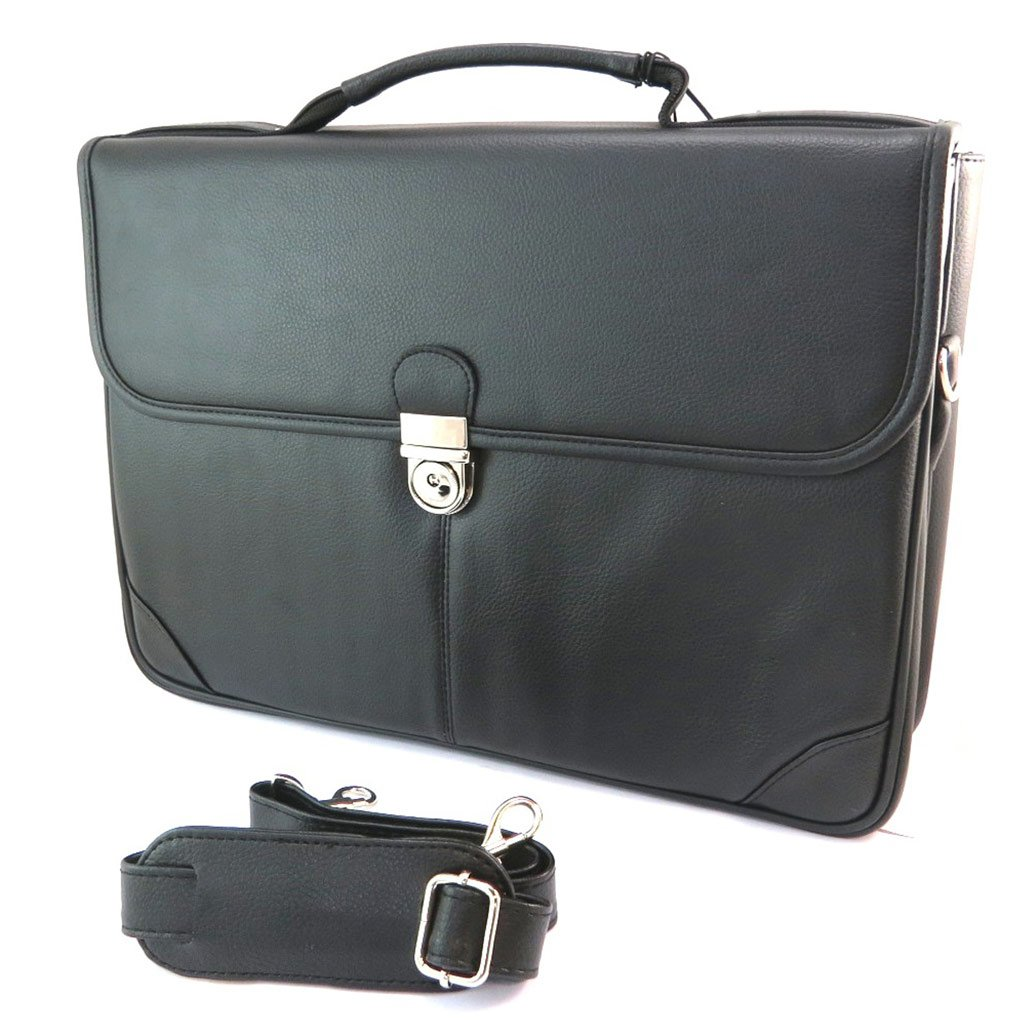 P3098 Davidts - 40.5x28x9 cm - Briefcase Lafayette black 2 bellows 15.94x11.02x3.54 .