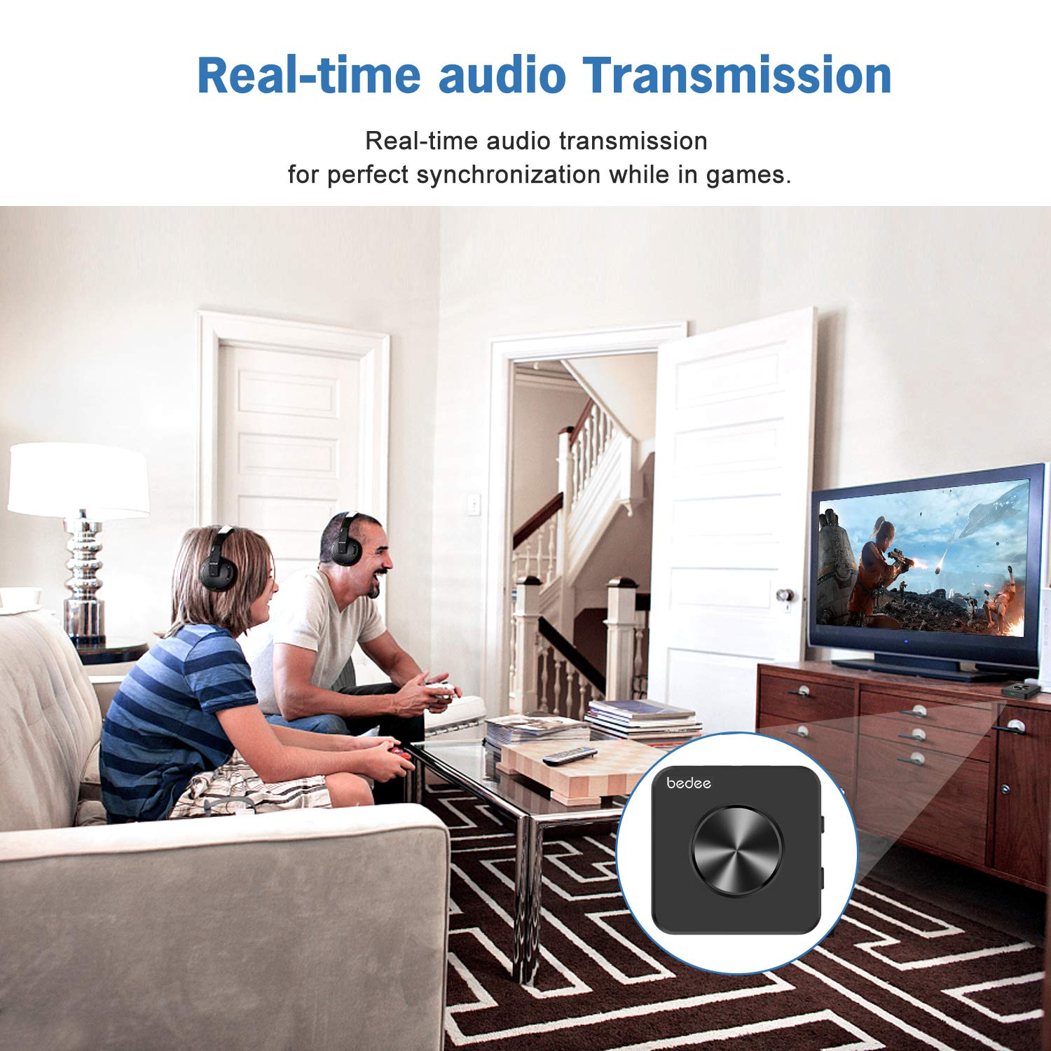 Bluetooth Empfänger bedee Bluetooth 5.0 Transmitter 2-in-1 Audio Adapter Receiver für HiFi Audio Stereo TV Laptop Lautsprecher PSP mit digitales optisches, 3,5 mm AUX, RCA Cable, aptX HD aptX LL Tech