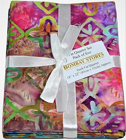 Lot de 5 coupons de tissu Batik Fat Quarter 100% coton pour matelassage artisanal BS-FAH-FPJ-0131