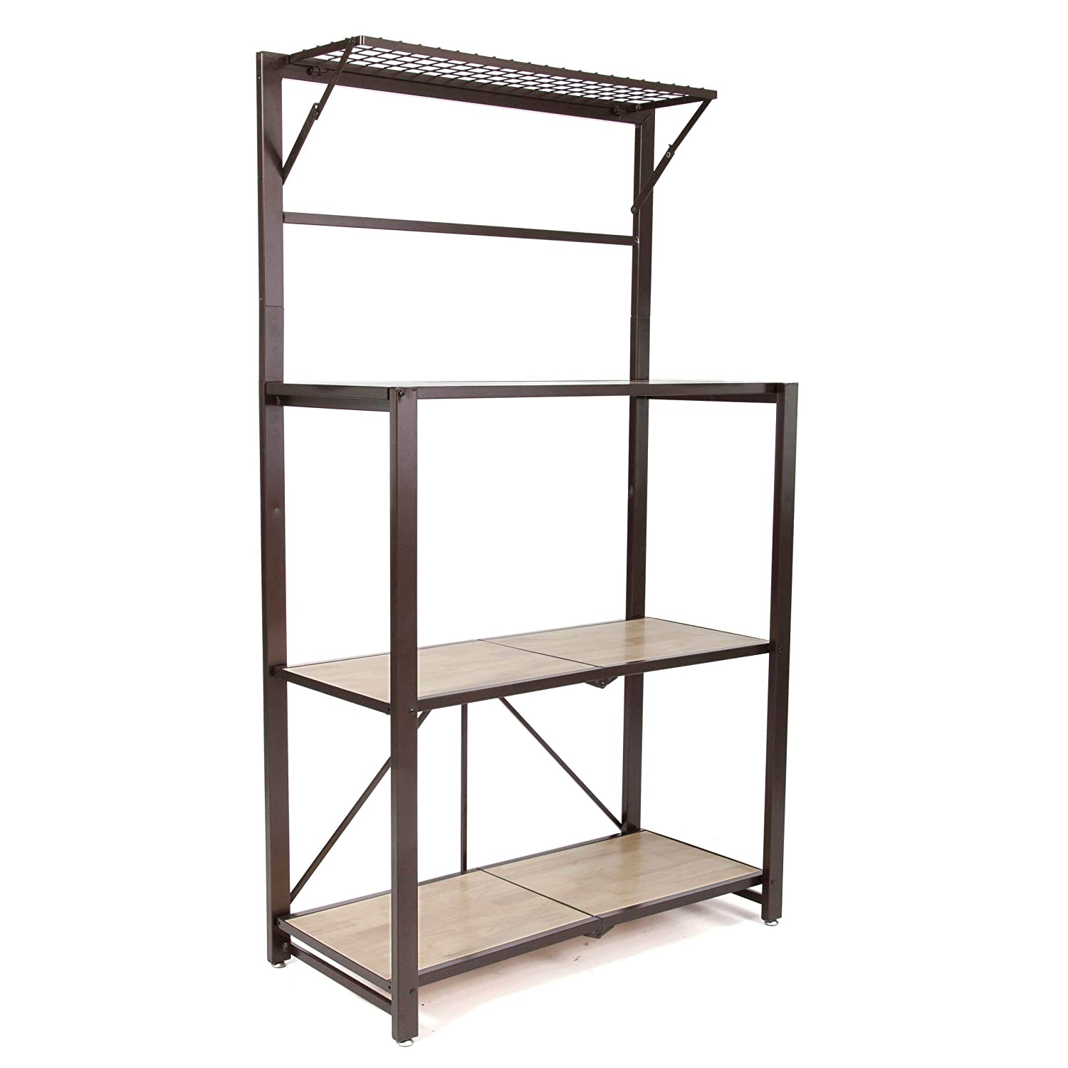 Origami Heavy Duty Durable Organizational Baker s Rack with Wood Shelf, Brown