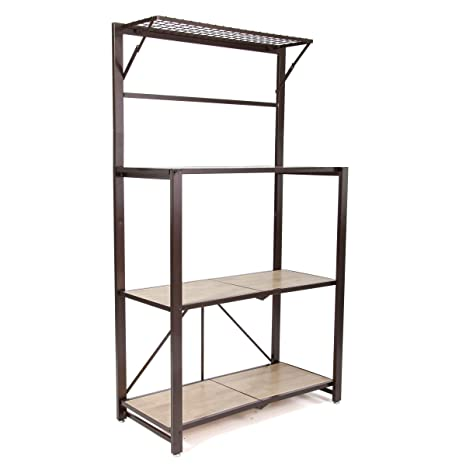 Groovy Origami Heavy Duty Durable Organizational Bakers Rack With Wood Shelf Brown Forskolin Free Trial Chair Design Images Forskolin Free Trialorg