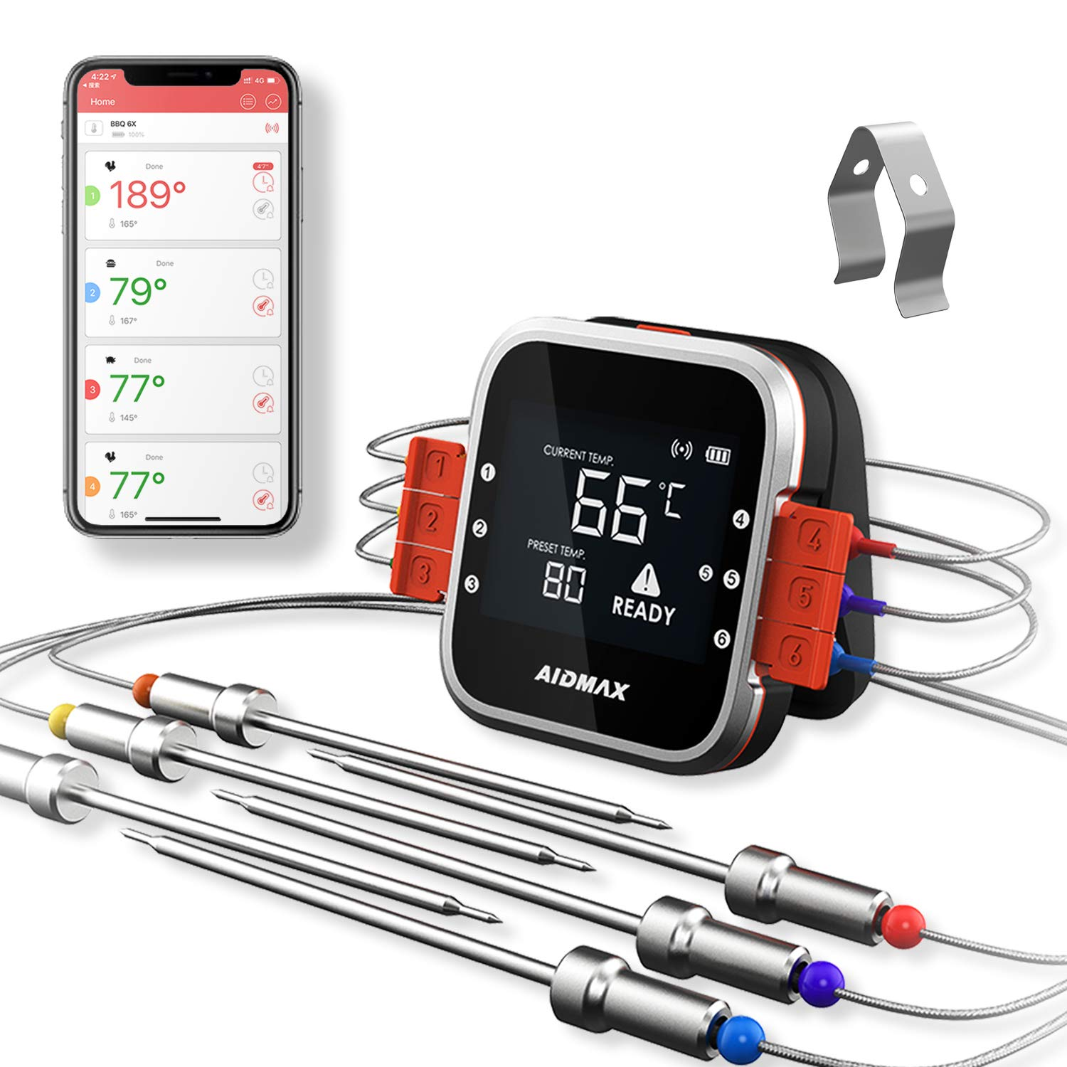AidMax Wireless Grill Thermometer Digital 6 Probes for Meat Food BBQ Inside Smoker Oven with Bluetooth Phone App