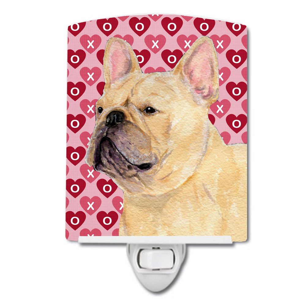 6x4x3 Carolines Treasures SS4485CNL French Bulldog Hearts Love and Valentines Day Portrait Ceramic Night Light Multicolor