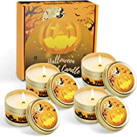 LA BELLEFÉE Halloween Scented Candles Pumpkin Soy Wax Candles Aromatherapy Candles 4 x 2.5 oz Gift Set for Halloween…
