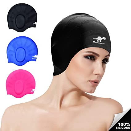 5068d2475b8 Spinosaurus Swim Cap, Silicone Swim Caps for Long Hair Unisex Adult  Swimming Pool Caps Ear Protection Comfortable Fit Swimming Caps for Men  Women Adults ...