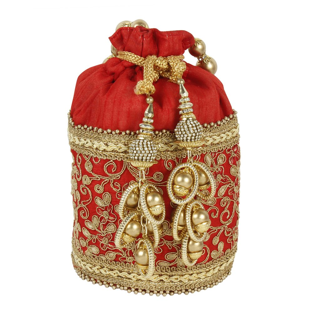 Purse Collection Embroidery Beautiful Traditional Indian Red Colured Polti Purse For Womens
