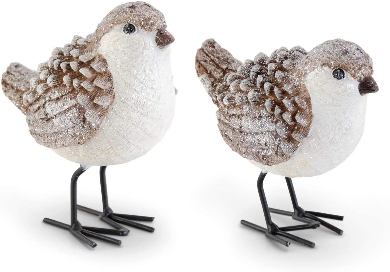 K&K Interiors 54275A Assorted Brown and White Glittered Wood Grain Pinecone Birds-2 Styles