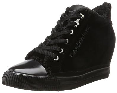 Femmes Noir Sneakers Argent Avec Coin Calvin Klein Vero