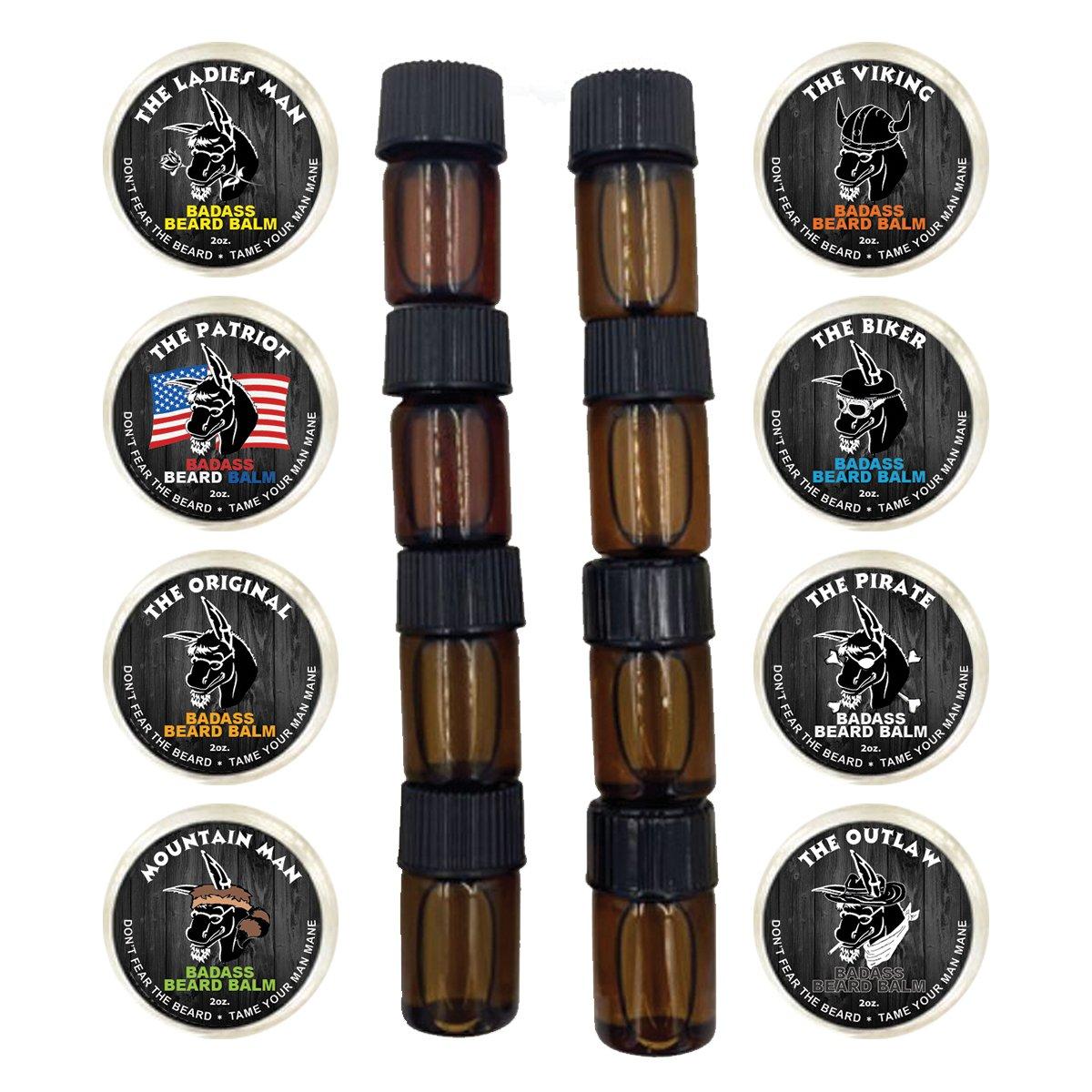 B01HSEQ798 Badass Beard Care Trial Kit For Men - 8 Packs Trial Sizes of Beard Balm & Beard Oil