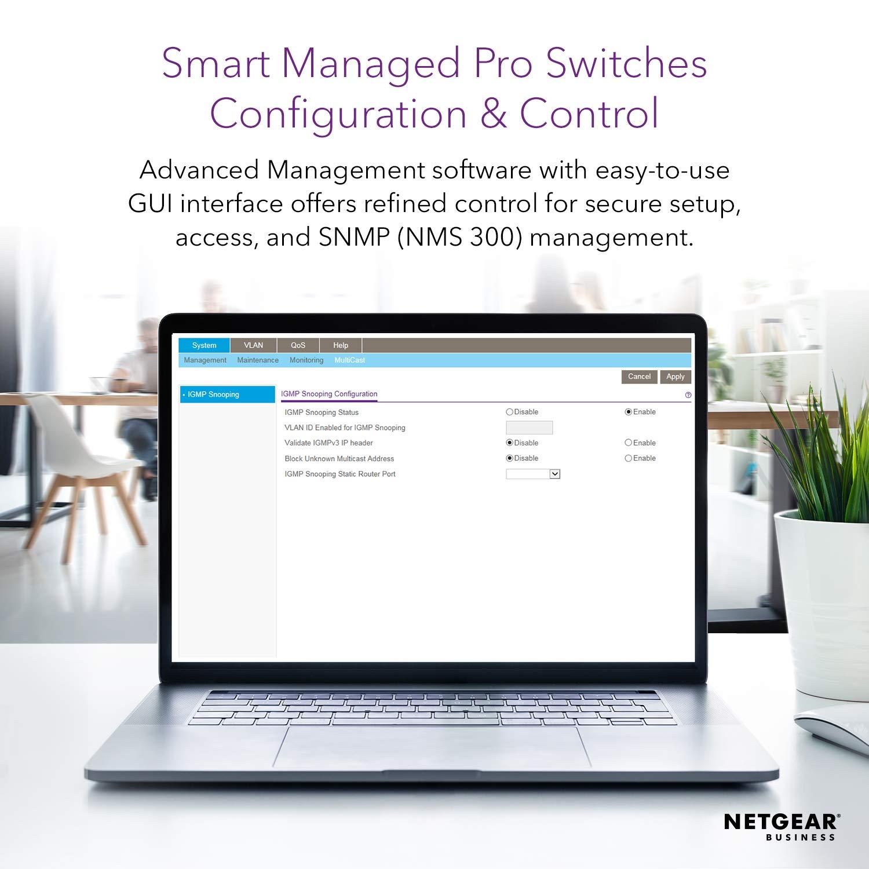 NETGEAR 52-Port Gigabit Ethernet Smart Managed Pro PoE Switch (GS752TP) -  with 48 x PoE+ @ 380W, 4 x 1G SFP, Desktop/Rackmount, and ProSAFE Limited