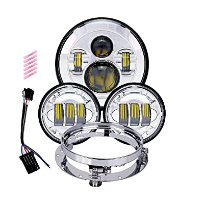 TRUCKMALL 7 inch LED Headlight, 4.5'' Fog Passing Lights, with Mounting Ring for Harley Davidson Touring Road King Ultra Classic Electra Street Glide Tri Cvo Heritage Softail Slim Deluxe Fatboy Chrome: Automotive