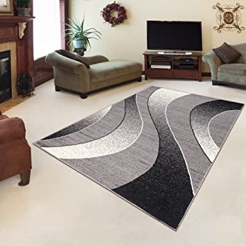 Amazon.de: Tapiso Designer Teppich Wohnzimmer Meliert Muster Wellen ...