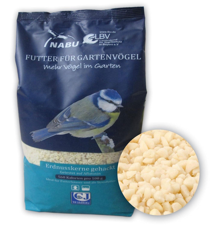 CJ Wildlife 210010815 Wildvogel-Futter Erdnusskerne gehackt 1 kg - empfohlen vom NABU und dem LBV