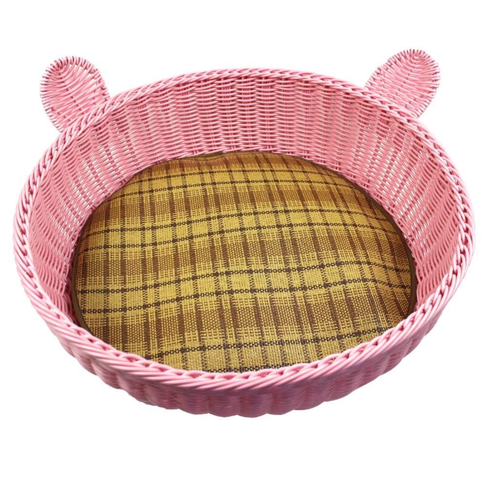 B W52CMH15CMByx Pet Nest  Kennel Imitation Rattan Cat Litter Spring And Summer Teddy Bomei Bago Small Kennel Washable Rattan Round Nest Pet Supplies Pet nest (color   C, Size   W52CMH15CM)