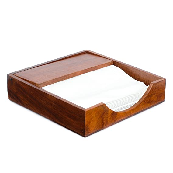 Rusticity Wood Napkin Holder for Napkin and Tissues - Sleek Design | Handmade | (7.5x7.5 in) Kitchen Linen at amazon