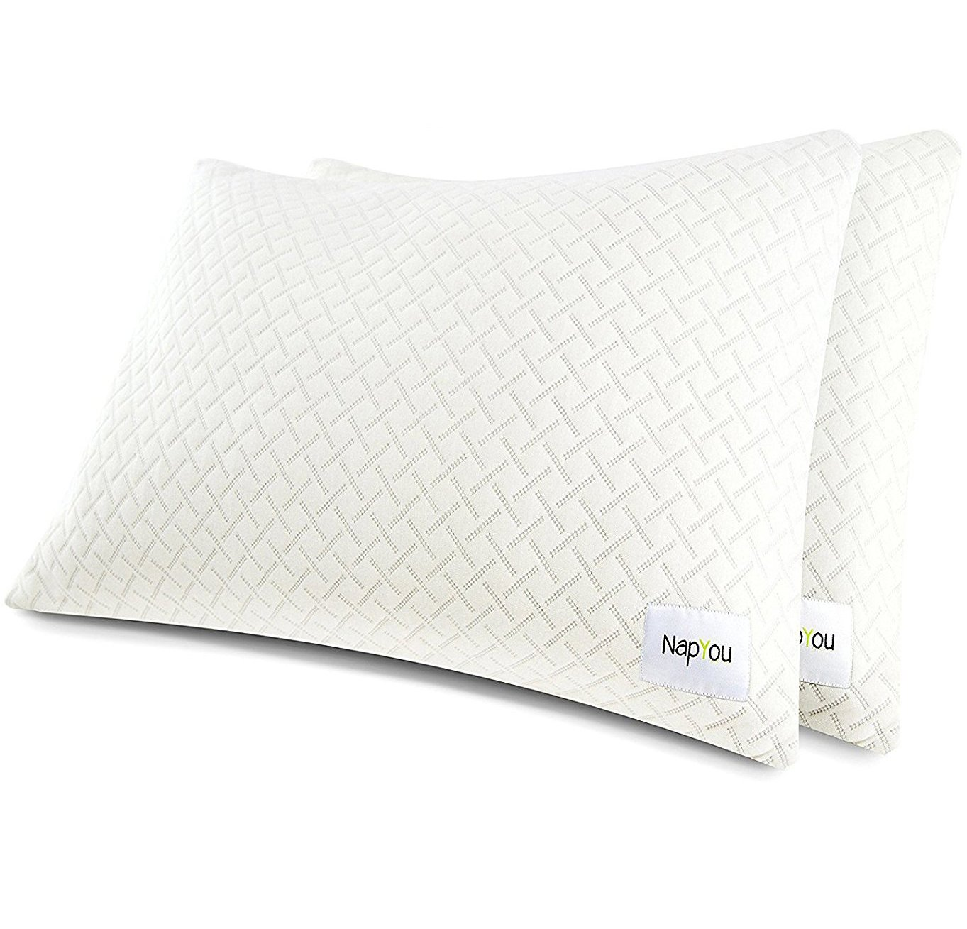 NapYou Official Pillows for Sleeping (2 Pack King) Shredded Certipur Memory Foam Pillow with Unique and Luxury Pillow Cover Design for Ultimate Breathability Made with Organic Cotton