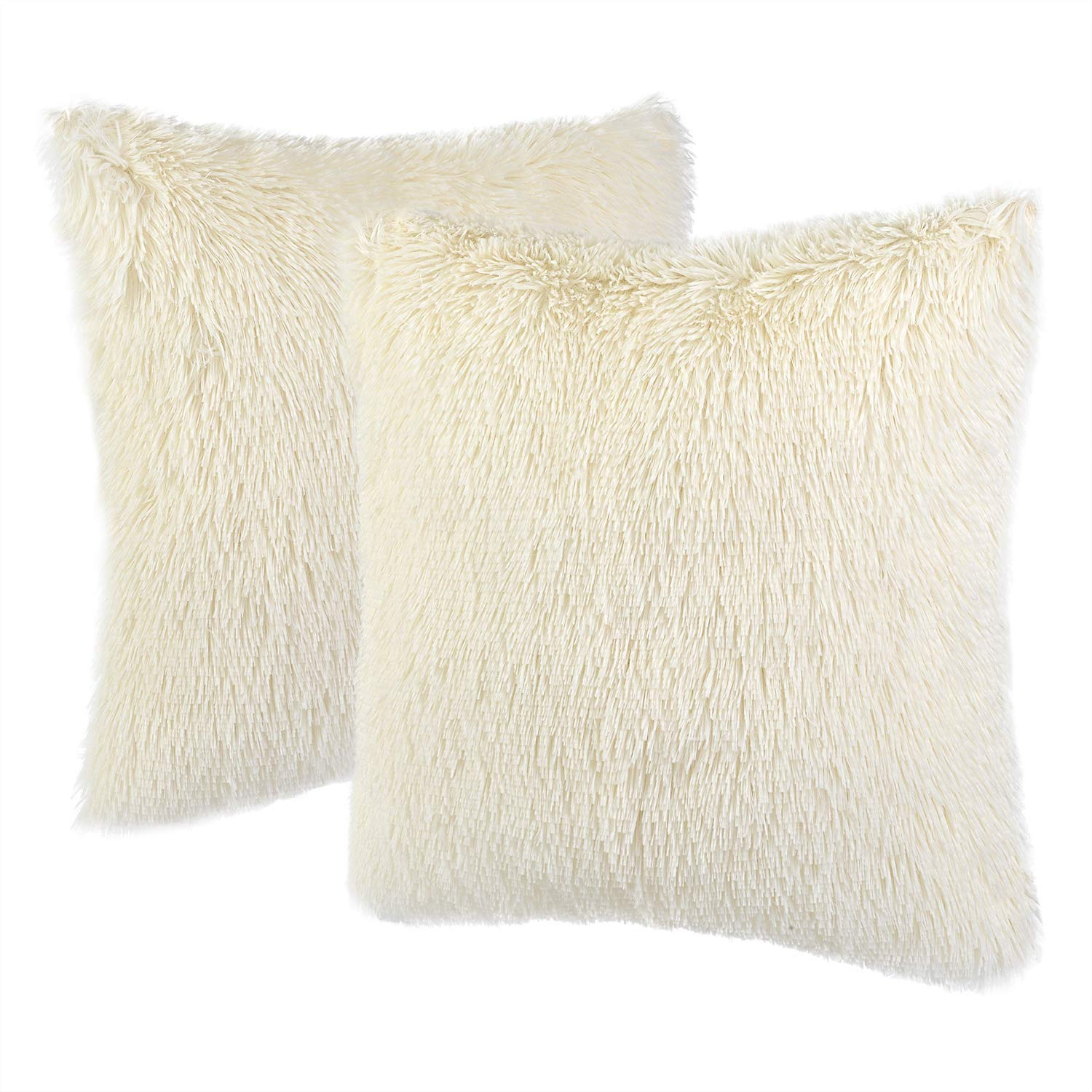 NordECO Home Luxury Soft Faux Fur Fleece Cushion Cover Pillowcase Decorative Throw Pillows Covers, No Pillow Insert, 18'' x 18'' inch, White, 2 Pack