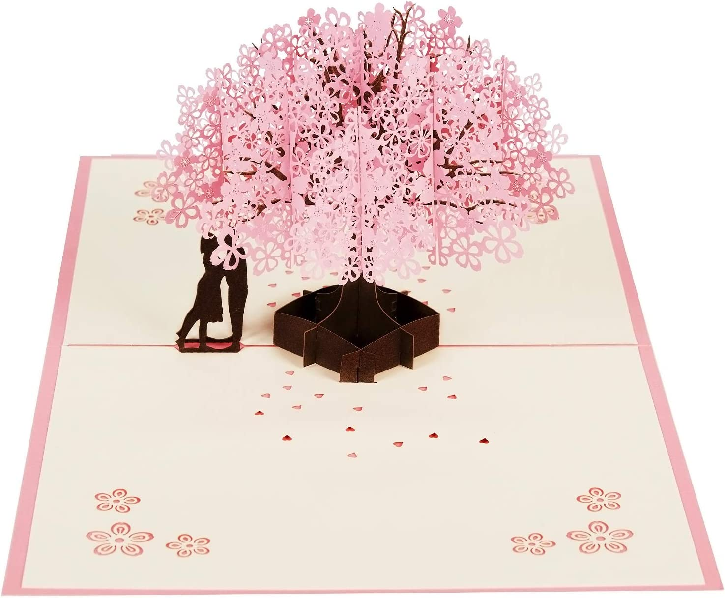 Polywen Greeting Cards | Pink Tree Couple Greeting Card | 3D Popup Card with Envelope | Ideal Birthday, Congratulations, Thank You, Wedding & Greetings Card | Stationary Blank Note for Every Occasion