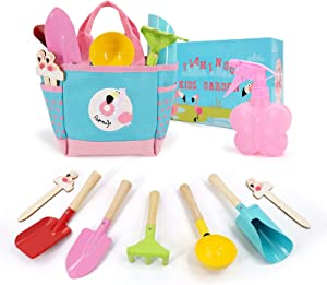 Hortem Children Garden Tool Set, Kids Gardening Tools Include Flamingo Tote Bag, Hand Shovels, Rake and Trowel, Spoon, Watering Can, Outdoor Play Gardening Gifts for Girls Boys