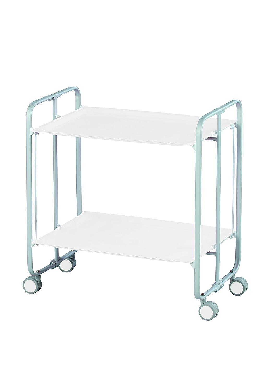 DHO Table Roulante Pliante Blanche et Ch/âssis Gris Aluminium 3 Positions