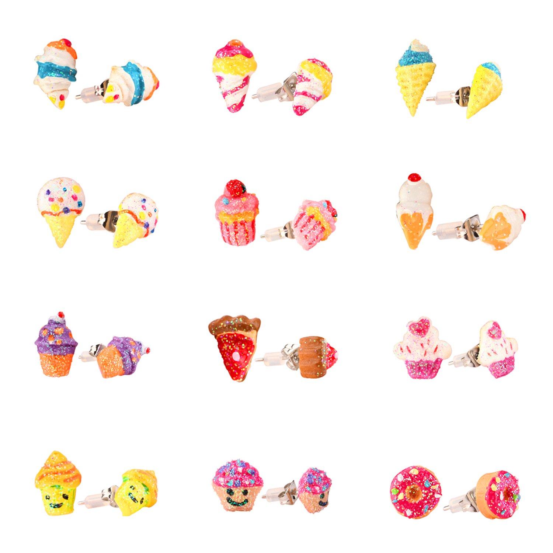 Boucles d'oreilles pour Fille Hypoallergénique, Boucles d'oreilles pour Enfants Mignon Coloré Crème Glacée pour Enfants Set de 12 Paires Skywisewin 12 ice cream