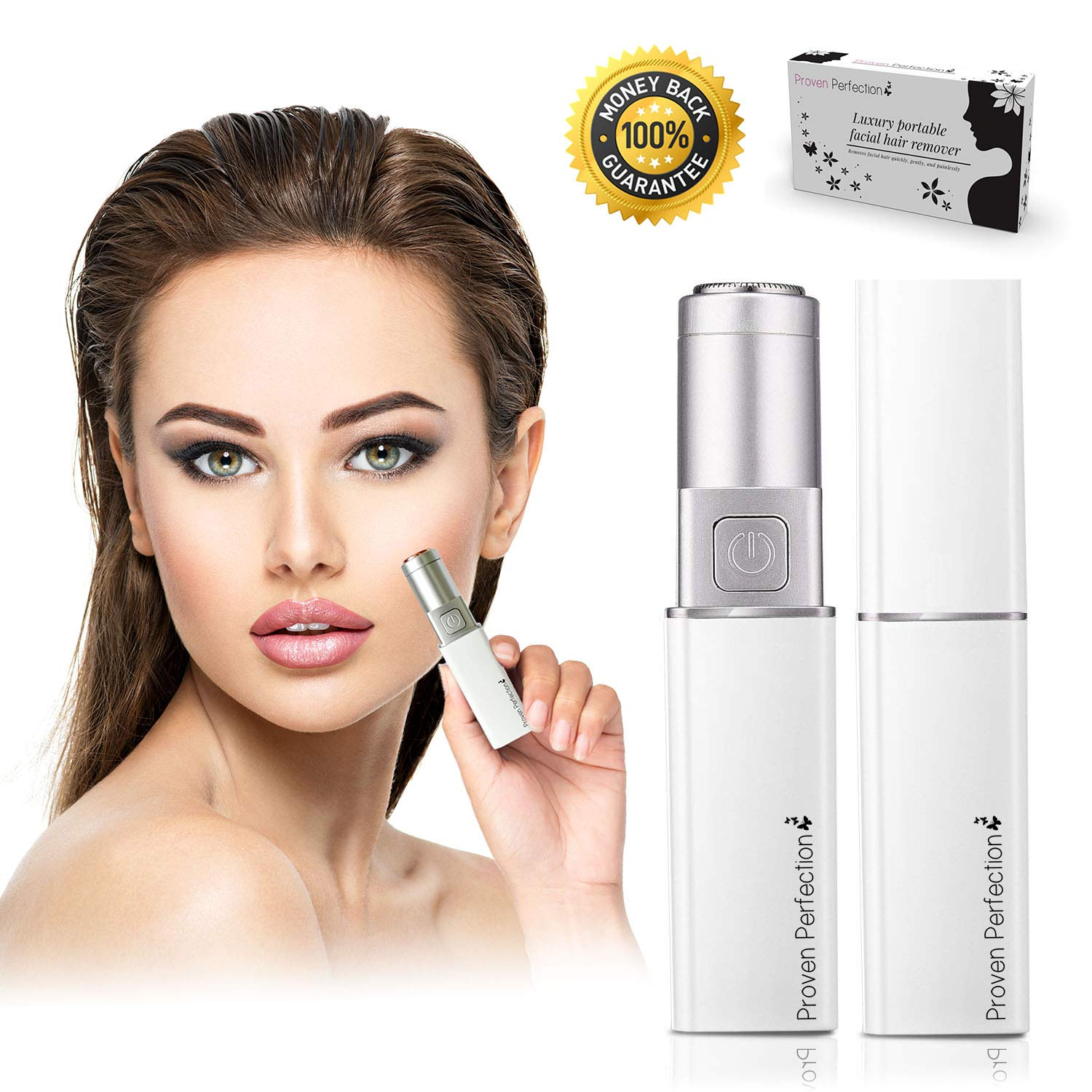 Women's Facial Hair Remover – Luxury Portable Ladies Facial Hair Trimmer for Painless, Flawless & Effective Removal of Peach Fuzz, Chin and Upper Lip Hair – Battery Operated – UK Brand (White Silver) ProvenPerfection