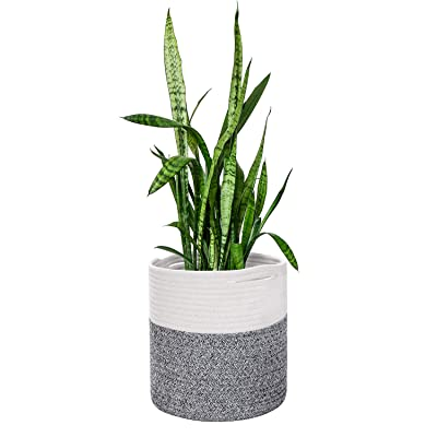 "NSC Cotton Rope Plant Basket Modern Woven Basket for 10"" Flower Pot Floor Indoor Planters, Storage Organizer Basket Rustic Home Decor (11""x11"") : Garden & Outdoor"