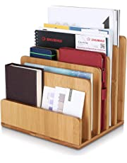 Homfa Archivador de bambú Estantes de Documentos con 5 Compartimentos 24.5x20.5x23cm