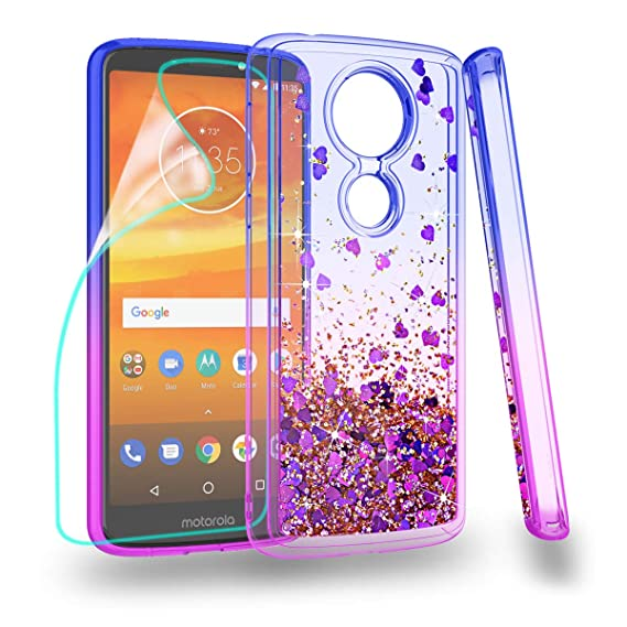 los angeles c137d 2f705 ZingCon Suit for Moto E5 Plus Case,Motorola E5 Supra Glitter Case with  Quicksand Bling Adorable Shine,[HD Screen Protector] Shockproof Hybrid Hard  PC ...