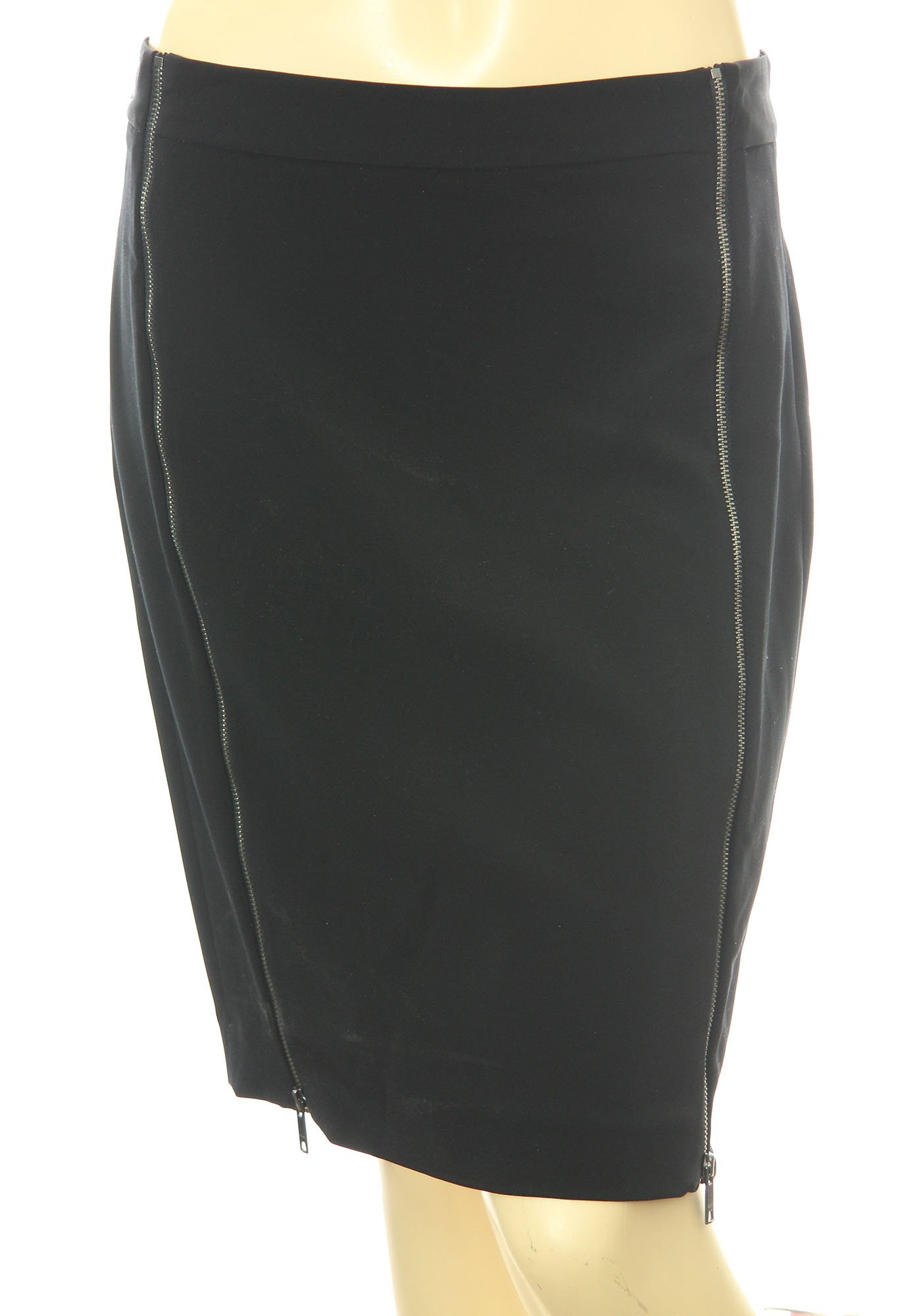 DKNY Women's Zipper Detail Skirt 6 Black