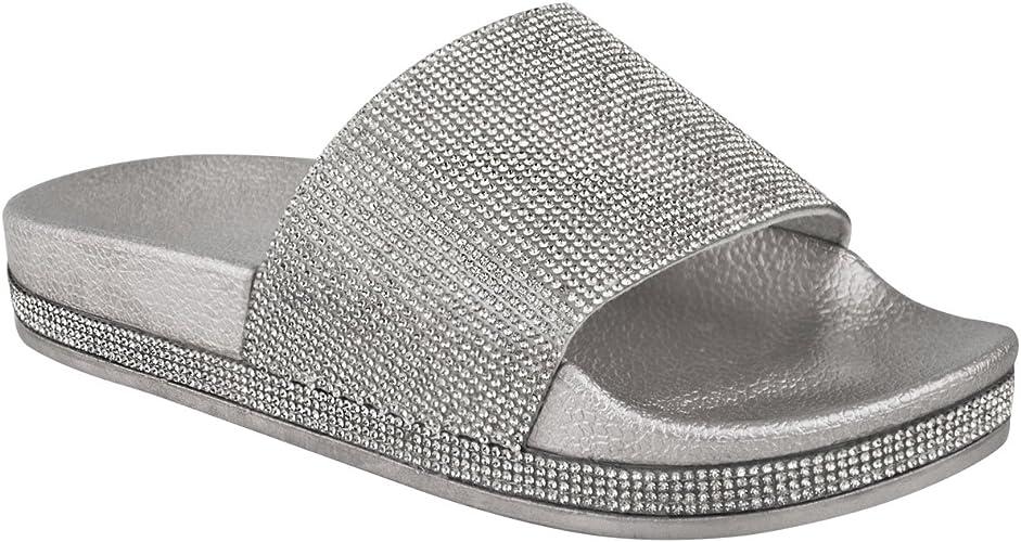 Womens Ladies Flats Sliders Diamante