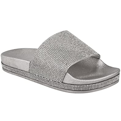 66c829b18eef14 Kelsi Womens Ladies Flats Sliders Diamante Sparkly Slip On Diamante Sparkly  Sliders Slippers Sandals Fashion Summer