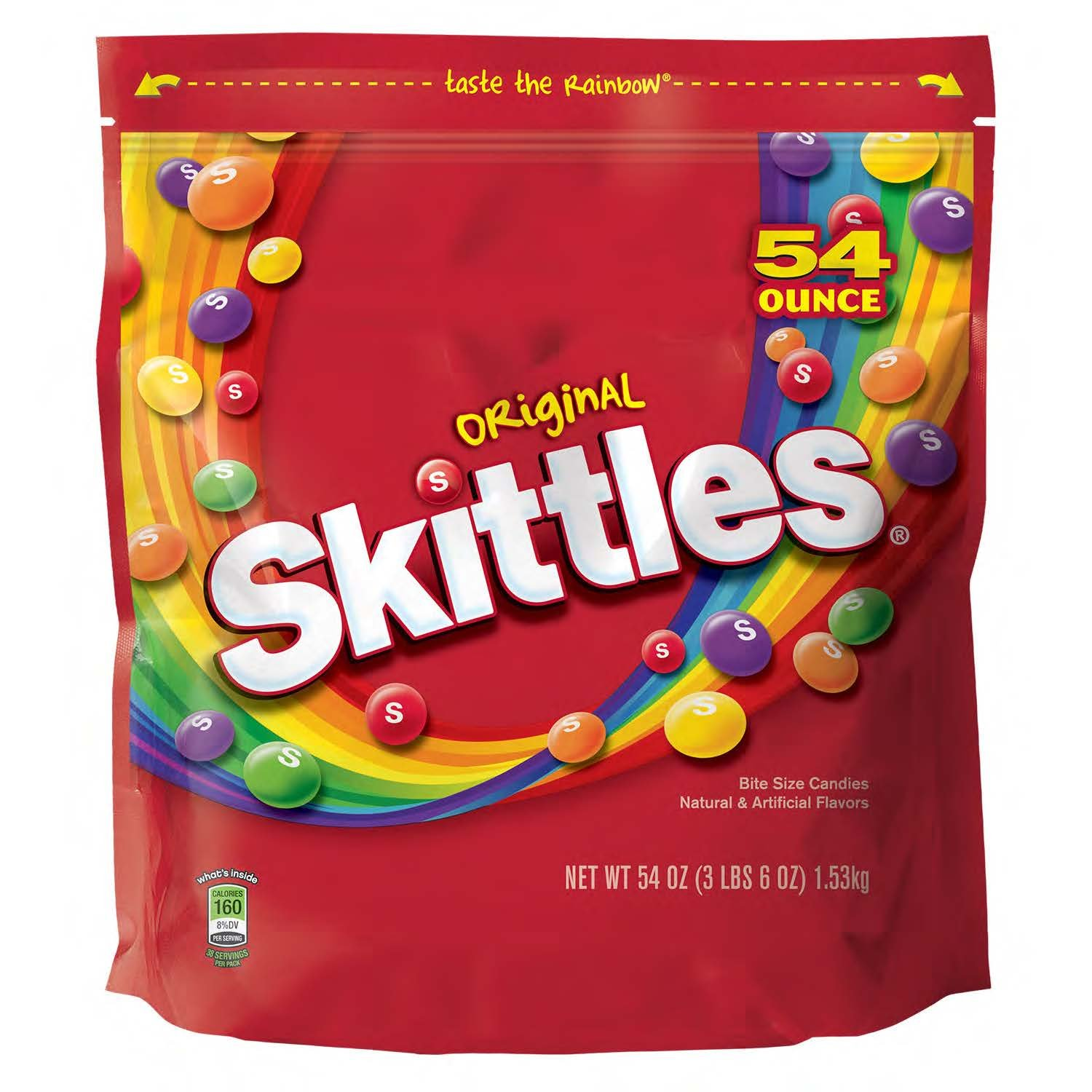 08516341bf Amazon.com   SKITTLES--Original Candy--Assorted Fruit Flavored  Candy--Skittles Original Bite-Sized Candies--Resealable Pouch--1-54oz. Bag    Grocery ...