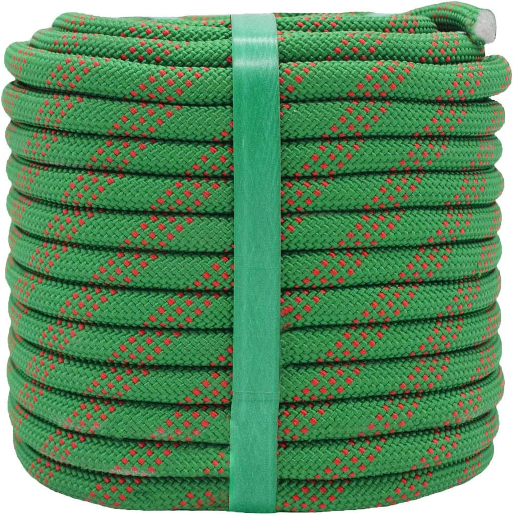 YUZENET Static Rock Climbing Rope 2/5 Inch 100 Feet Outdoor Safety Fire Escape Rope Rappelling Rope,Green/Red: Home Improvement
