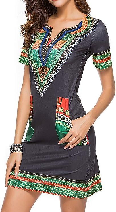 Womens Bodycon Dashiki African Midi Dresses Bohemian Vintage Club Dress with Pocket