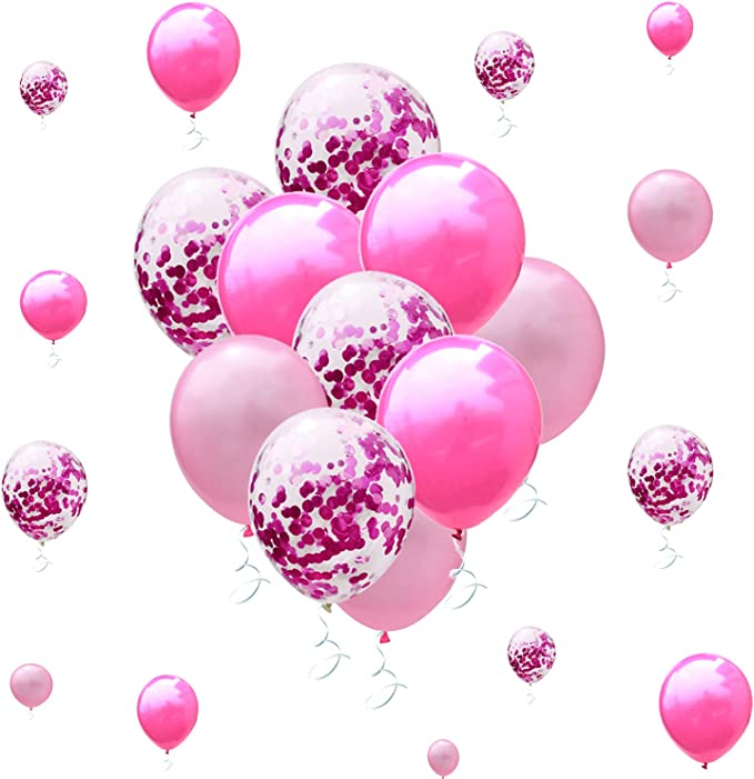 Metallic Pink Confetti Hot Pink Balloons For Bridal Baby Shower Wedding Birthday Party Decorations Toys Games Amazon Com