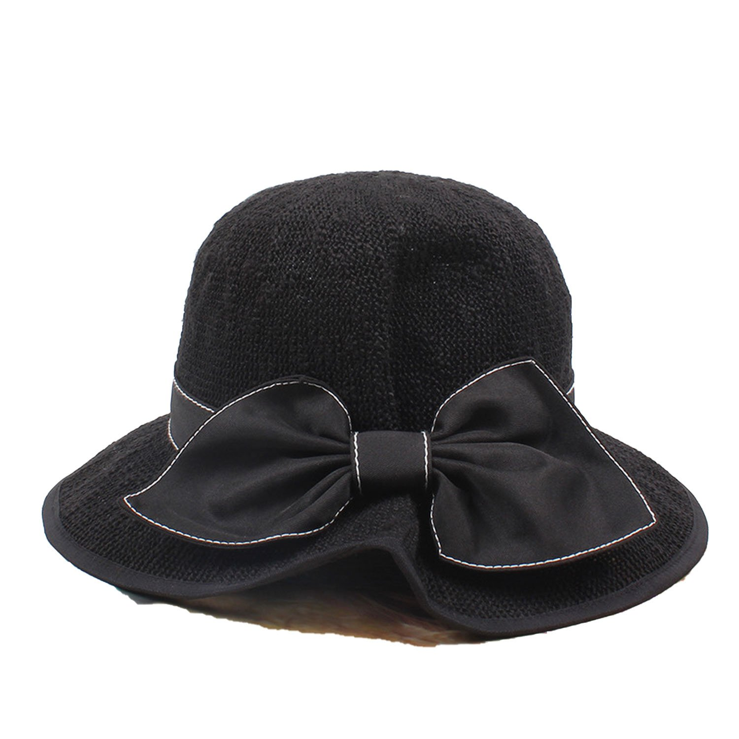 747690beff5af3 Attack infant-and-toddler-hats Hat Temperament Elegant Bow Fisherman Hat  Small Fresh Breathable Basin Cap, Black, at Amazon Women's Clothing store: