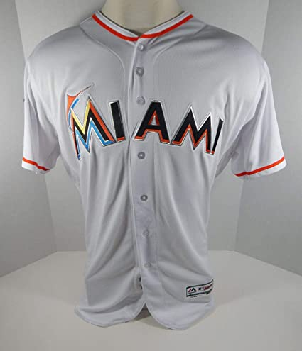 low cost 9df81 24b0a 2018 Miami Marlins Blank Authentic Game Issued White Jersey ...
