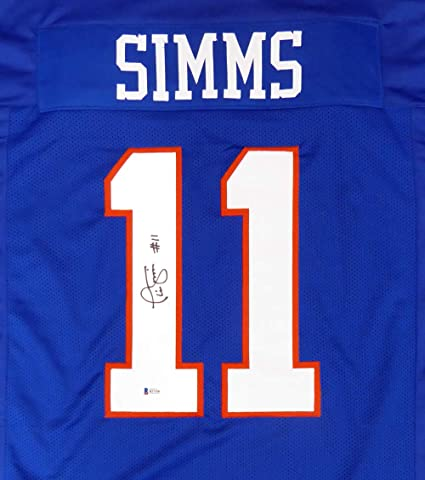 3c35c8615 New York Giants Phil Simms Autographed Blue Jersey Beckett BAS at ...
