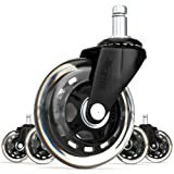 SunnieDog Office 3 Inch Rollerblade Style Office Chair Caster Wheel  Replacement, Black (Set