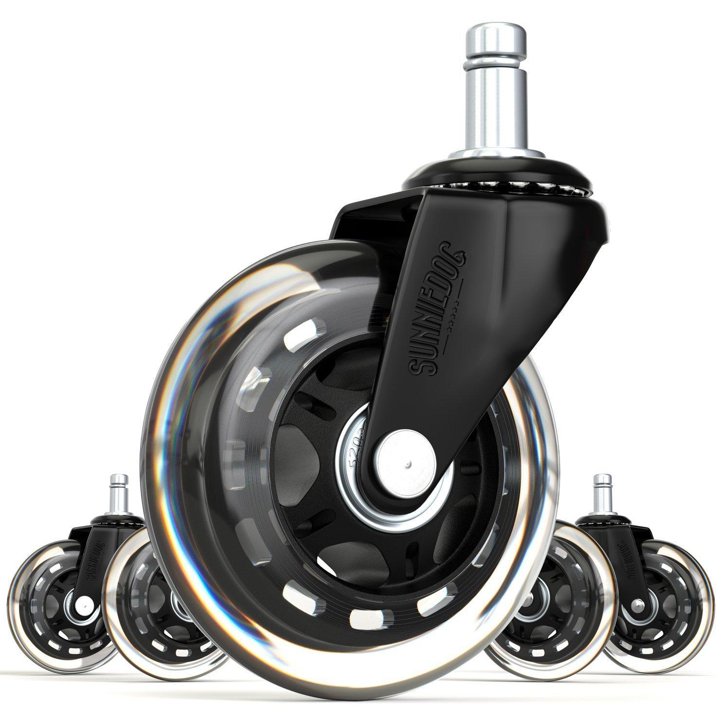 SunnieDog fice 3 Inch Rollerblade Style fice Chair Caster Wheel