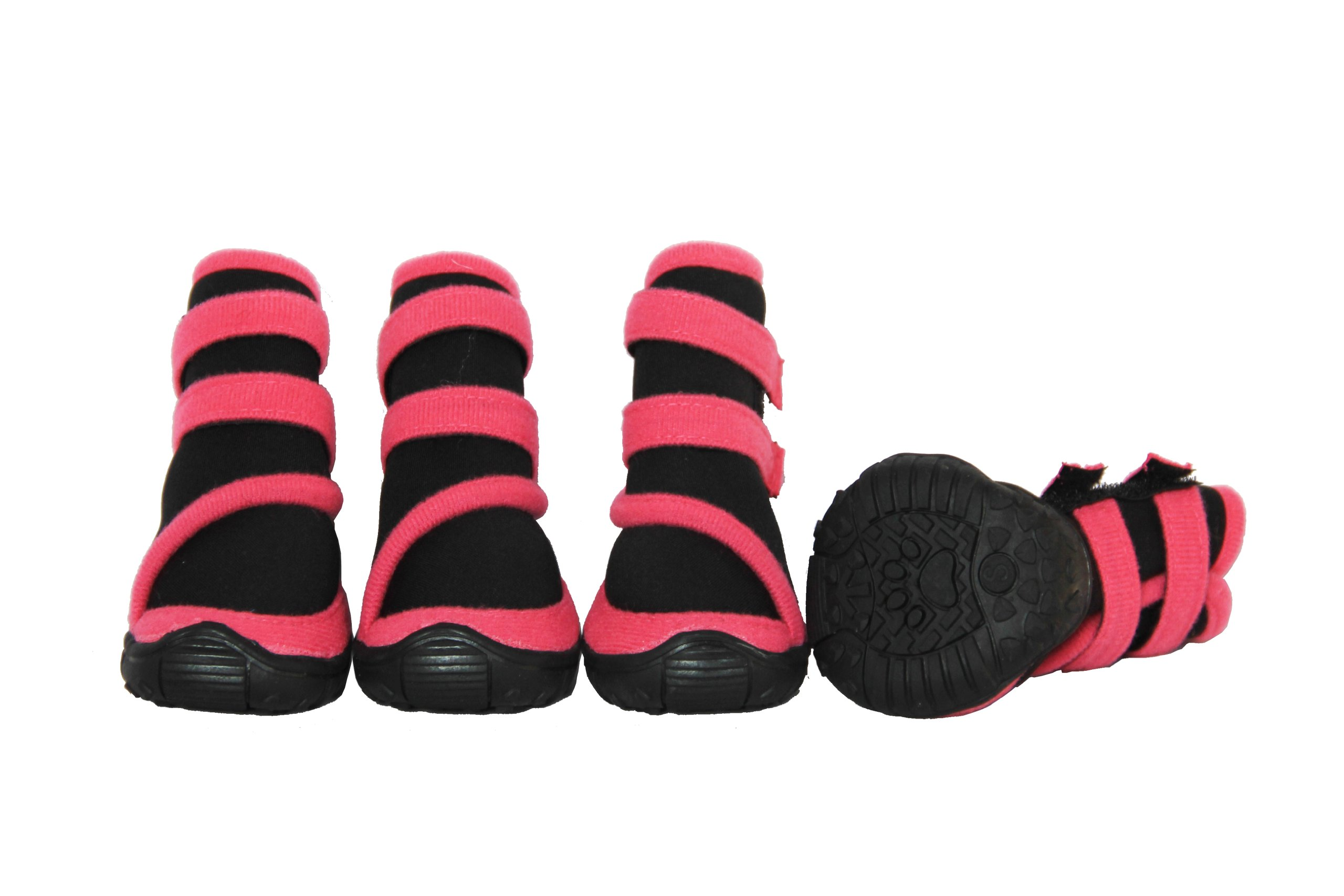 Pet Life Ankle Supportive' Neoprene Stretch Premium Grip Pet Dog Shoes Boots Booties - Set Of 4, Large, Black/Pink
