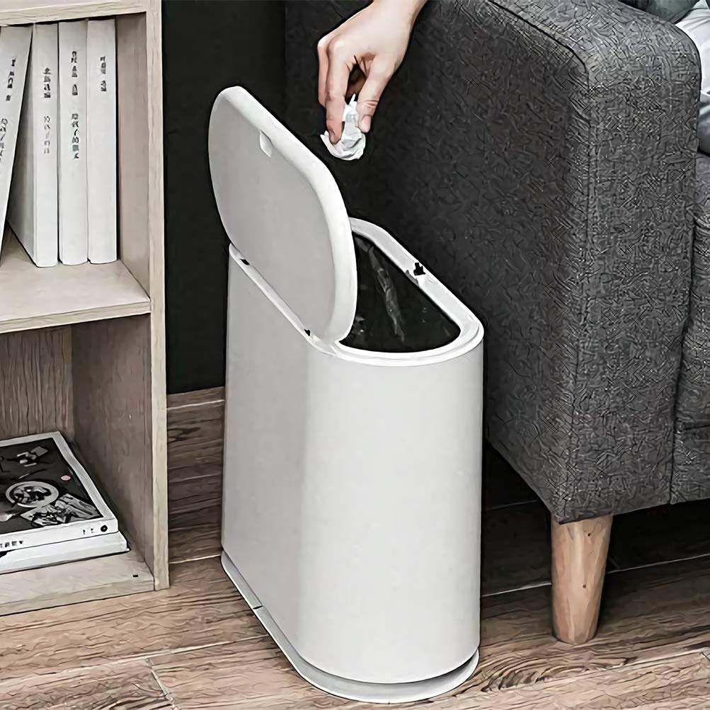 Trash Can, 10 Liter / 2.4 Gallon Plastic Garbage Container Bin with Press Top Lid, White Waste Basket for Kitchen, Bathroom, Living Room and Office